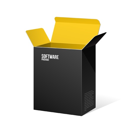 software box: Software Package Box Opened Black Inside Yellow Orange Illustration