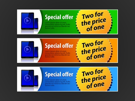Special Offer Banner Set Colored 5  Blue, Red, Green  Showing Products Purchase Button Pad Vector