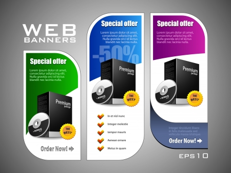 Special Offer Banner Set Colored 11  Blue, Purple, Violet, Green  Showing Products Purchase Button Stock Vector - 13764909