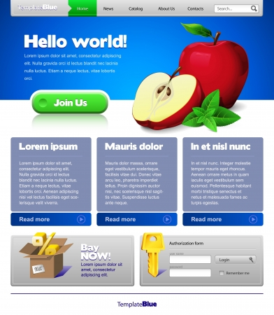 Blue Website Template 960 Grid: Front Page Stock Vector - 13779848