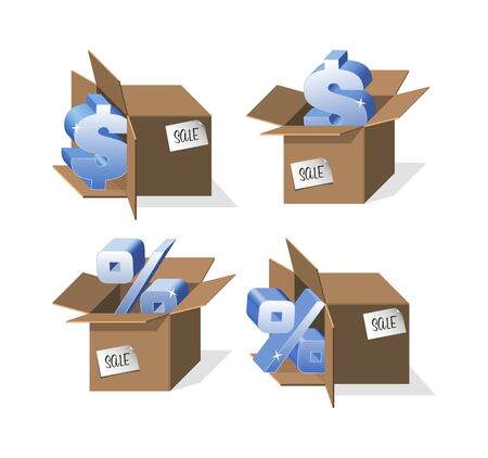 naturalistic: Set of Boxes with percent and dollar Illustration