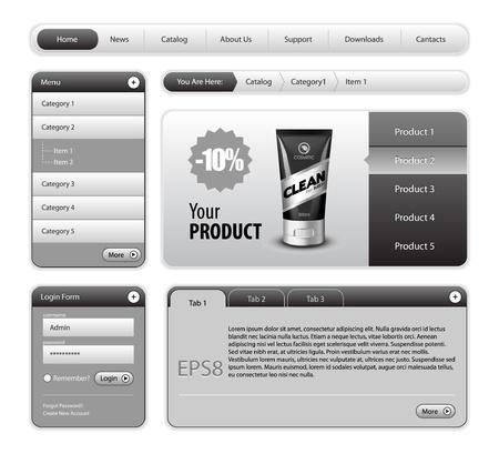 rollover: Clean Website Design Gray Elements: Buttons, Form, Slider, Scroll, Icons, Tab, Menu, Navigation Bar, Login, Template : Part 2
