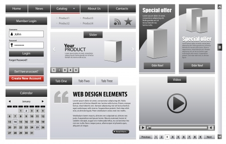 interface elements: Gray Business Web Design Elements Version Grayscale 2: Menu, Navigation Bar, Slider, Banners, Video Player, Calendar, Tabs, Login Form, Scroller, Pagination