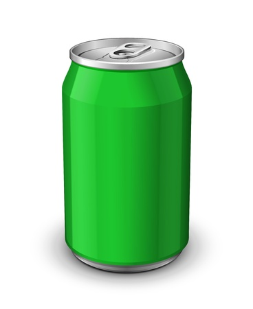 beer can: Green Aluminum Can: