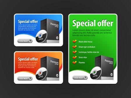 Oferta Especial Banner Vector Set de colores: Azul, Rojo, Verde. Mostrando los productos del botón de compra