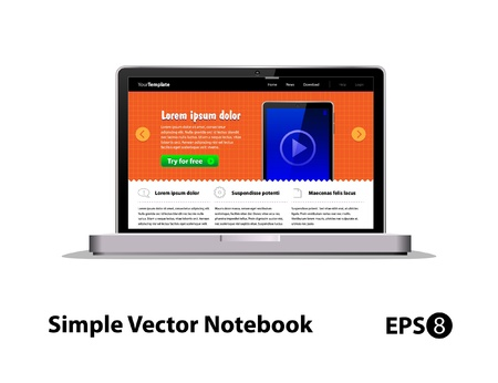 Simple Notebook (Laptop) Vector