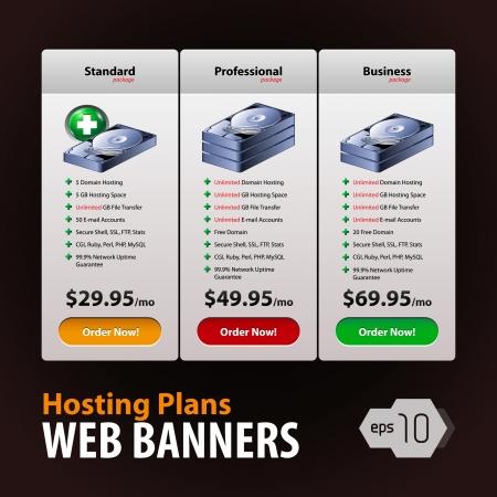 hospedagem: Perfect Web Banners Boxes Hosting Plans For Your Website Design: Banner, Order, Button, Box, List, Bullet