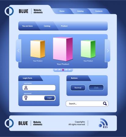 Blue Modern Website Design Elements  Buttons, Form, Slider, Icons, Tab, Menu, Navigation Bar Vector