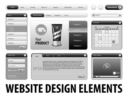 Clean Website Design Gray Elements  Buttons, Form, Slider, Scroll, Icons, Tab, Menu, Navigation Bar, Login, Video player, Calendar, Arrows, Download, Template   Part 3  Vector