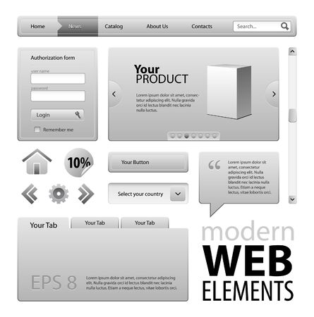 Graphite Gray Business Web Design Elements Stock Vector - 13876986