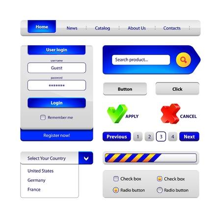radio button: Hi-End Web Interface Elementi di design pulsanti, menu, barra di avanzamento, pulsante di opzione, casella di controllo, modulo di login, la ricerca, l'impaginazione, le icone Vettoriali