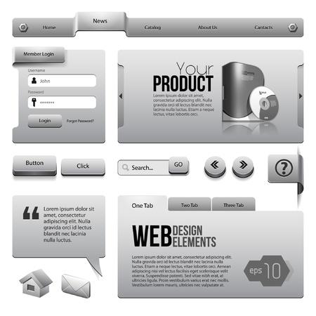 Metal Ribbons Website Design Elements    Buttons, Form, Slider, Scroll, Icons, Tab, Menu, Navigation Bar Illustration