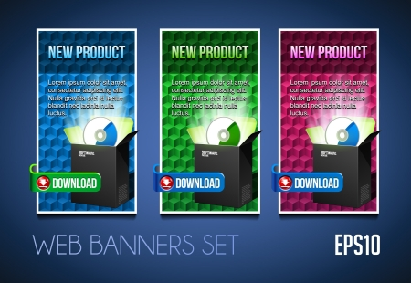 New Product Modern Banners Set  Colored  Blue, Purple, Violet, Green  Showing Products Purchase Button Download Vector
