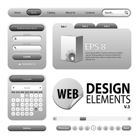 graphite: Round Corner Web Design Graphite Gray Elements  Buttons, Form, Slider, Scroll, Icons, Tab, Menu, Navigation Bar, Login, Calendar, Accordion, Template Version 3 Illustration