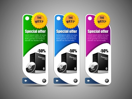Special Offer Banner  Colored 6  Blue, Purple, Violet, Green  Showing Products Purchase Button Vector