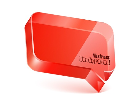 Speech Bubble Glass Shiny Red Vector