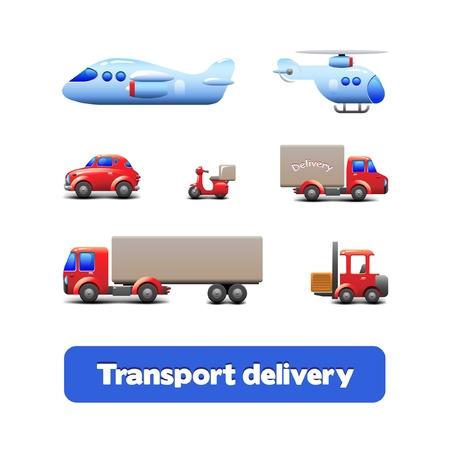 transporteur: Livraison Web de Transports Set Version Icon 3 scooter, camion, voiture, moto, avion, chariot �l�vateur, wagon ou un camion, citerne, navire-citerne, transporteur Illustration