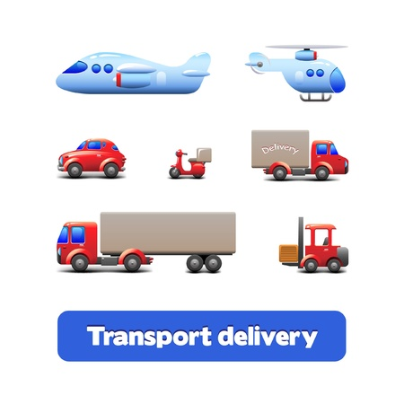 Transport Delivery Web Icon Set Version 3  scooter, truck, car, motorcycle, airplane, forklift, wagon, truck, cargo tank, ship, tanker, carrier Vector