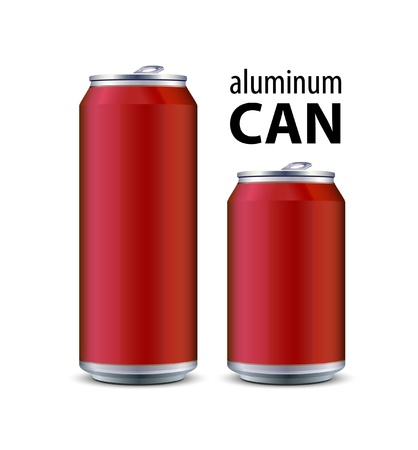 water can: Two Red Aluminum Can Illustration