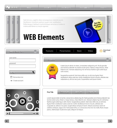 Hi-Tech Website Design Gray Elements  Buttons, Form, Slider, Scroll, Icons, Tab, Menu, Navigation Bar, Login, Video, Player, Accordion, Template Vector
