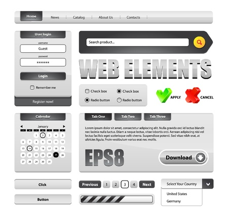 Hi-End Grayscale Web Interface Design Elements Version 2  buttons, menu, progress bar, radio button, check box, login form, search, pagination, icons, tabs, calendar  Vector