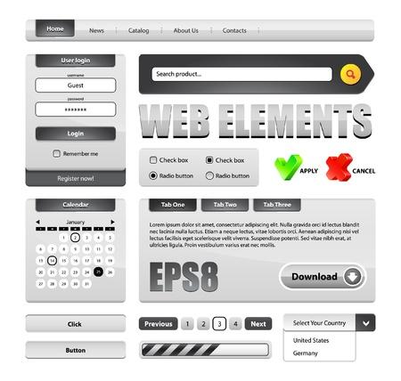steel bar: Hi-End Grayscale Web Interface Design Elements Version 2  buttons, menu, progress bar, radio button, check box, login form, search, pagination, icons, tabs, calendar