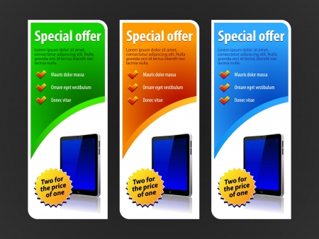 Special Offer Banner Set Colored 4  Blue, Red, Green  Showing Products Purchase Button Pad Vector