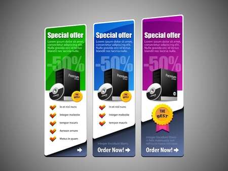 Special Offer Banner Set Vector Colored 8  Blue, Purple, Violet, Green  Showing Products Purchase Button Vector