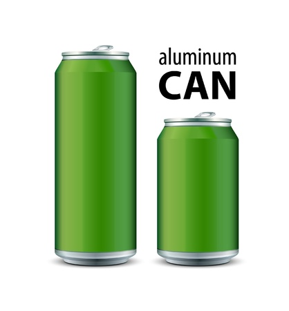 lata de refresco: Dos de aluminio verde puede Vectores