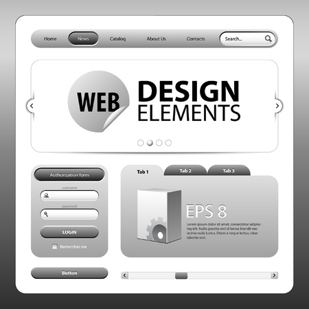graphite: Round Corner Web Design Elements Graphite Gray  Version 2 Illustration