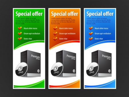 advertisement: Special Offer Banner Set Colored 2  Blue, Red, Green  Showing Products Purchase Button
