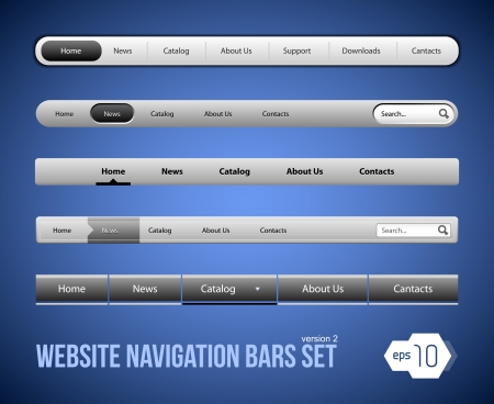 steel bar: Web Elements Navigation Bar Set Version 2