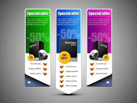 Special Offer Banner Set Colored 10  Blue, Purple, Violet, Green  Showing Products Purchase Button Vector