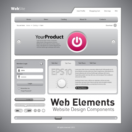 rollover: Web Elements Website Design Components Gray  Buttons, Form, Slider, Scroll, Icons, Tab, Menu, Navigation Bar, Bread crumbs