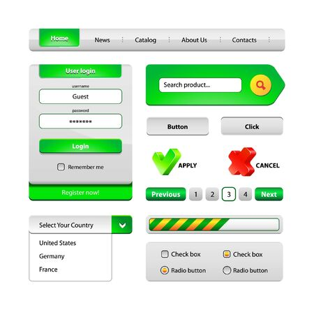 Green Hi-End Web Interface Design Elements: buttons, menu, progress bar, radio button, check box, login form, search, pagination, icons. Vector