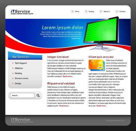 IT Service Website Template Design Monitor Web Elements Vector Version Stock Vector - 14014383