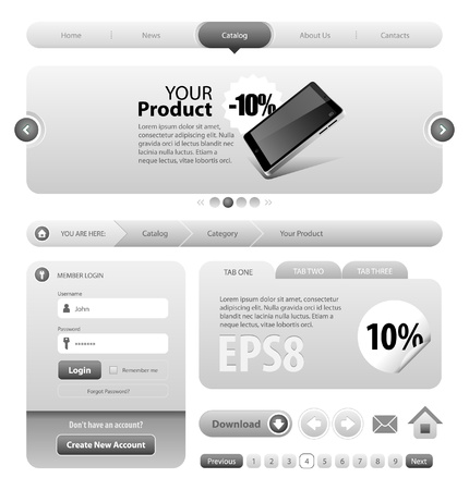 Neo Cool Gray Graphite Website Design Elements: Buttons, Form, Slider, Scroll, Icons, Tab, Menu, Navigation Bar, Bread crumbs Stock Vector - 14014366