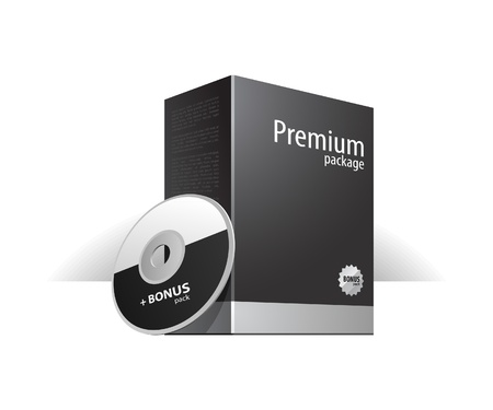 Grayscale Premium Package Box With DVD Or CD Disk Stock Vector - 14014349