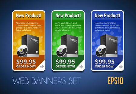 New Product Round Corners Banners Set Colored Version 2  Blue, Yellow, Green  Showing Products Purchase Button Vector