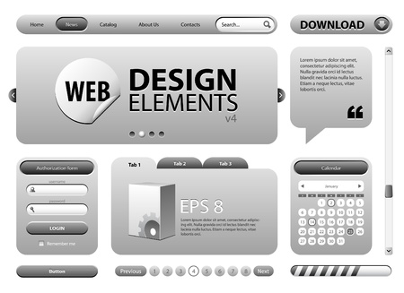 silver bar: Round Corner Web Design Elements Graphite Gray  Version 2 Illustration