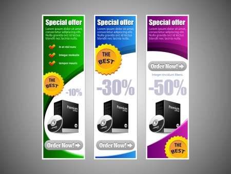 Special Offer Banner Set Colored 8  Blue, Purple, Violet, Green  Showing Products Purchase Button Vector