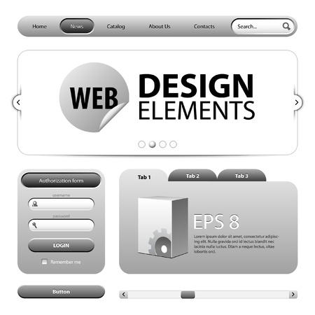 graphite: Round Corner Web Design Elements Graphite Gray Illustration
