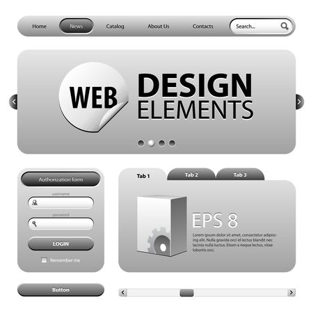 sidebar: Round Corner Web Design Elements Graphite Gray  Version 2 Illustration