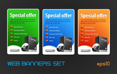 Special Offer Big Banners Set Vector Colored  Blue, Red, Green  Showing Products Purchase Button, Order Now Vector