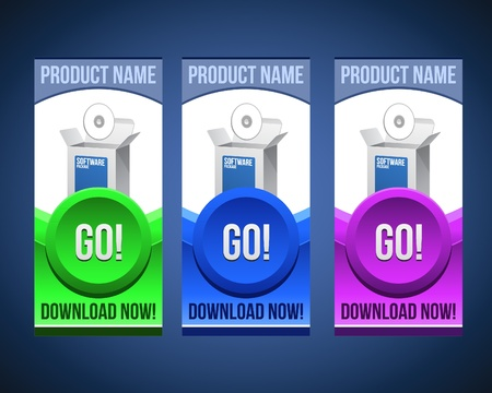 Colorful Software Banner Set With Big Button  Version 1 Vector