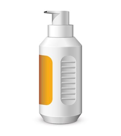 cosmetic bottle: Foam Plastic Bottle White With Sticker  Vector Version