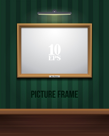 wooden frame: Golden Picture Frame On Striped Green Wall eps10
