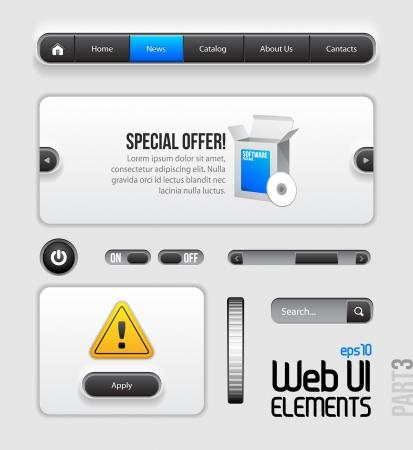 scrollbar: Web UI Elements Design Gray Blue  Part 3