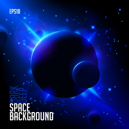 Abstract Deep Space Background  Planets, Stars, Lights Vector