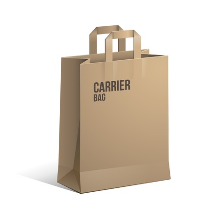 grocery store: Carrier Paper Bag Brown Empty
